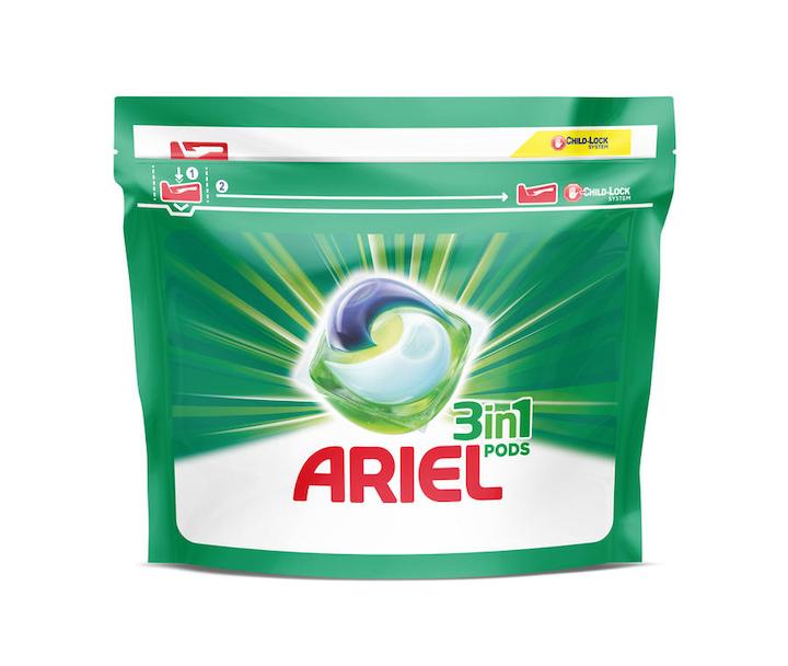 Los Pods de Ariel de P&G son sus detergentes más compactos y requieren menos envase de plástico por lavado.