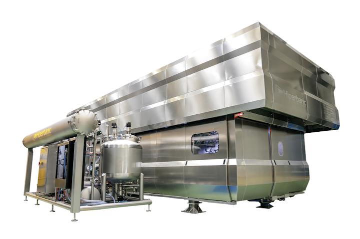 Tecnología BULK, novedad mundial desarrollada por la firma Hiperbaric S.A., que puede procesar 5,000 l/h de líquidos sin envasar en semi continuo.