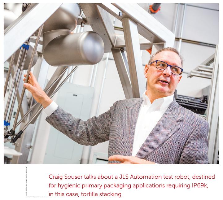 Craig Souser habla acerca del robot de prueba de JLS Automation, destinado a aplicaciones de empaque primario higiénicas que requieren de IP69k, en este caso, para apilado de tortillas.