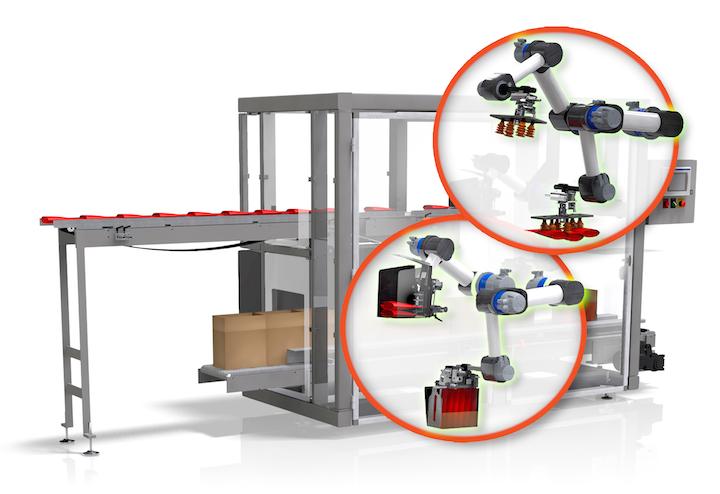El robot SCARA en la empacadora de cajas de carga superior Douglas recopila bolsas y luego las inserta en una caja.