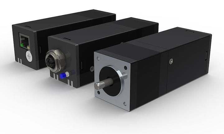 El TSM14POE StepSERVO incluye un motor, un codificador, un variador y un controlador combinados en un solo paquete de motor integrado.