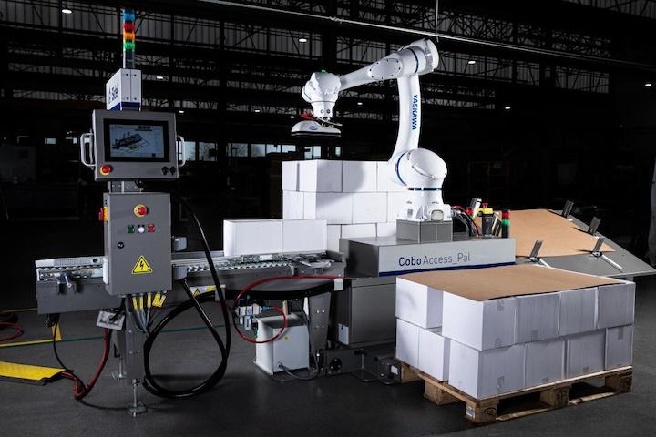 Versión M de CoboAccess Pal de Sidel tiene una unidad robótica colaborativa Yaskawa HC20, con capacidad de carga de hasta 14 kilogramos y un alcance de 1.700 milímetros.