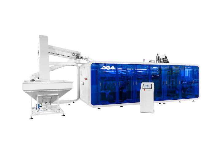 De acuerdo con PET Tecnologies, la máquina tiene un alto rendimiento, mientras que sus dimensiones son más compactas. Está equipada con el sistema de recuperación de aire doble para cubrir la demanda de baja presión, y presión de pre soplado.