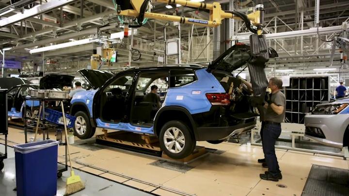 Producción del SUV, Atlas, en las instalaciones de Volkswagen en Chattanooga, Tennessee.