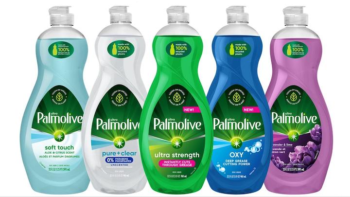 Las botellas de Palmolive Ultra tienen etiquetas que destacan el uso de plástico reciclado por parte de la marca, una transparencia del 100% de los ingredientes, y un logotipo de How2Recycle®.