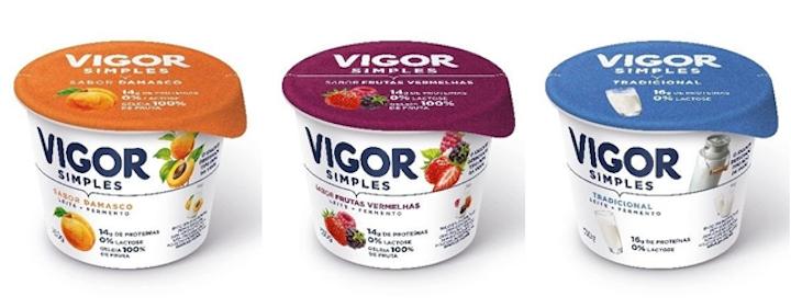El yogurt Vigor Simples se ofrece en las versiones Tradicional, Durazno y Frutos Rojos. Su nuevo envase sacará este año del mercado 15 toneladas de plástico.